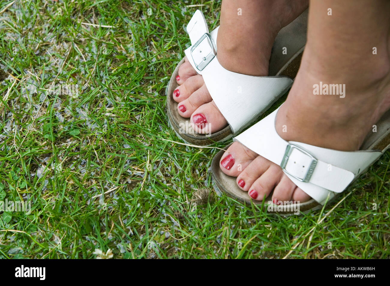 a-pair-of-womens-feet-in-a-pair-of-white-sandals-on-wet-grass-AKWB6H.jpg