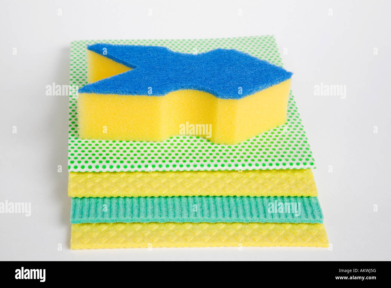 Sponge and clothes, close-up - Stock Image