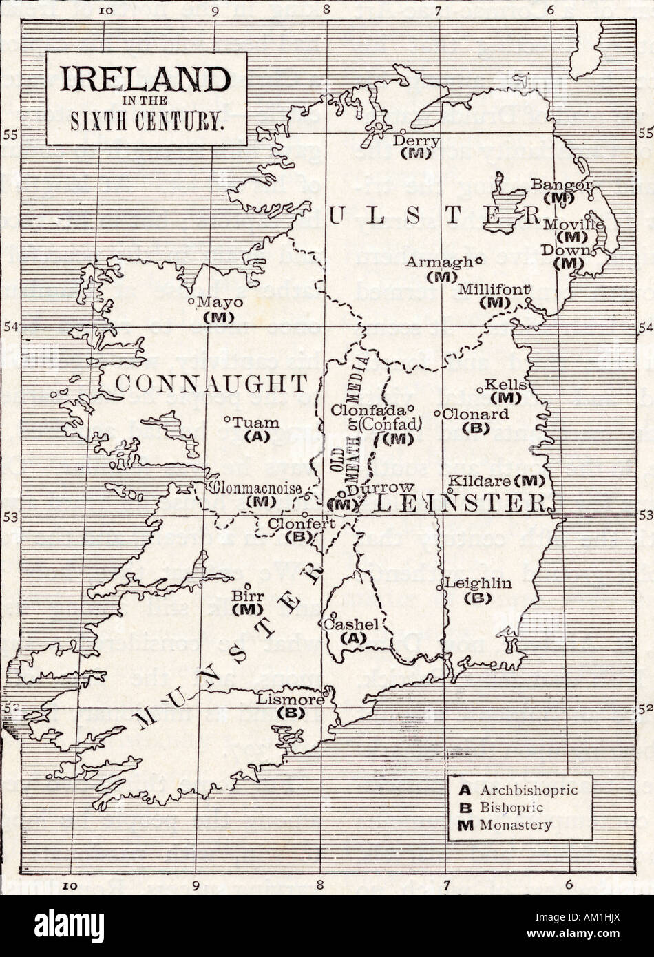 Map Of England 6th Century.Map Of Ireland In The Sixth Century From The Book The Church Of