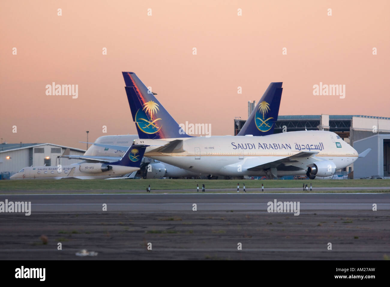 Fleet of Saudi Arabian goverment at London Heathrow Airport UK - Stock Image