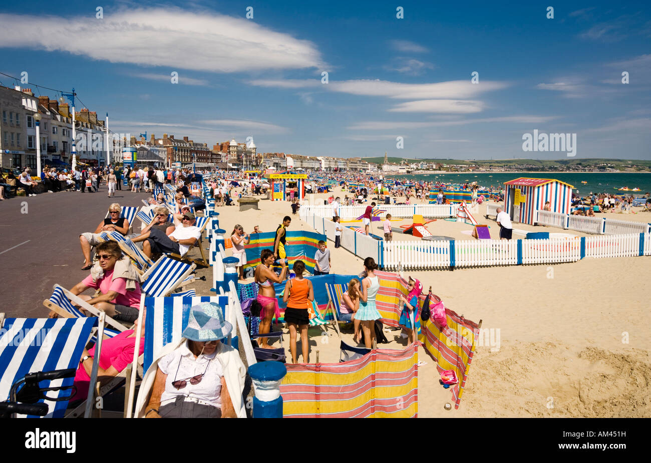 People At A Traditional British Seaside Beach In Summer At Weymouth