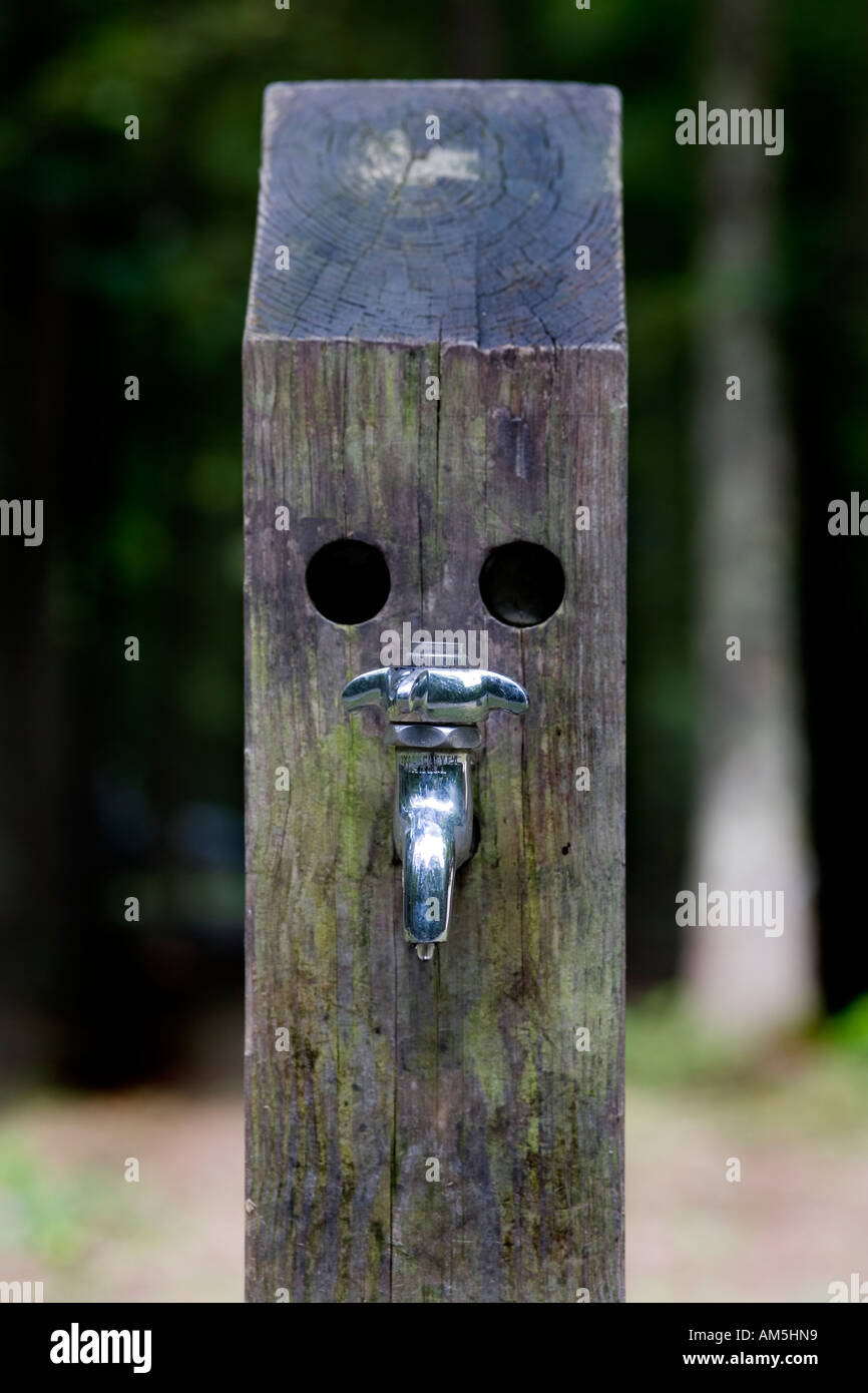 Dripping faucet on a post with two holes that make it look like a ...