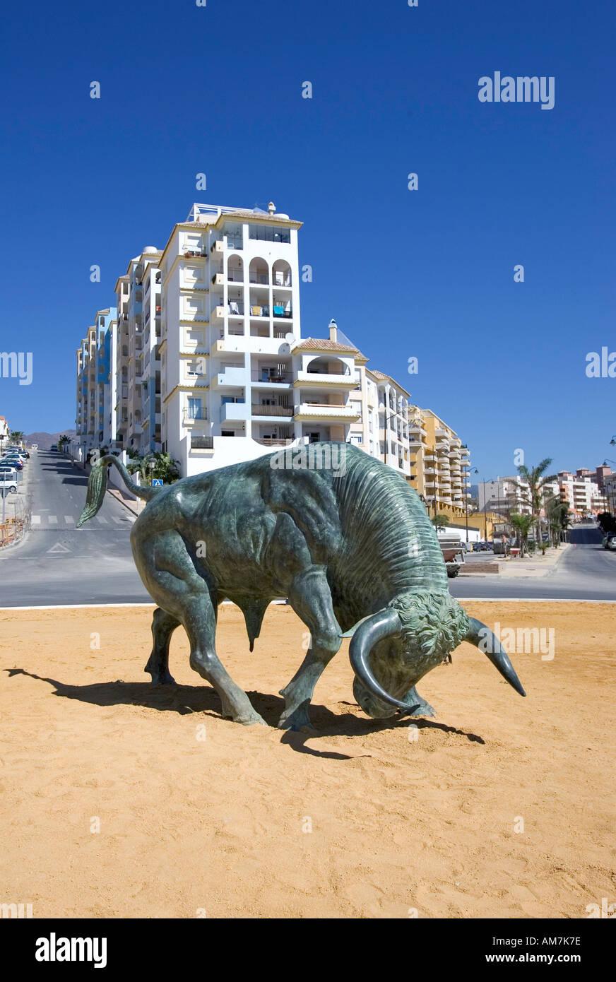 Cast Iron Spanish Bull on Roundabout