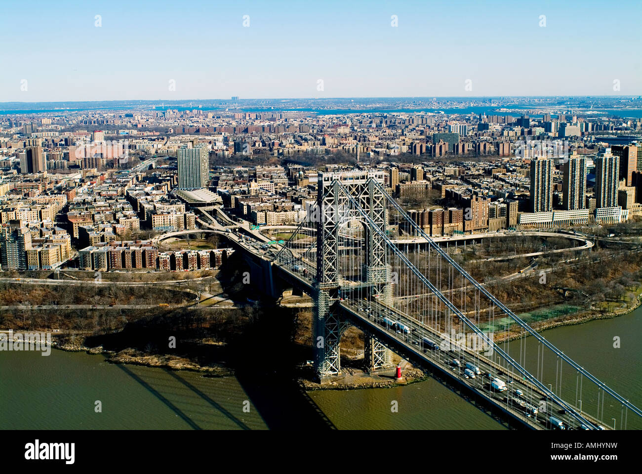 aerial view above George Washington bridge, Manhattan, New York city - Stock Image