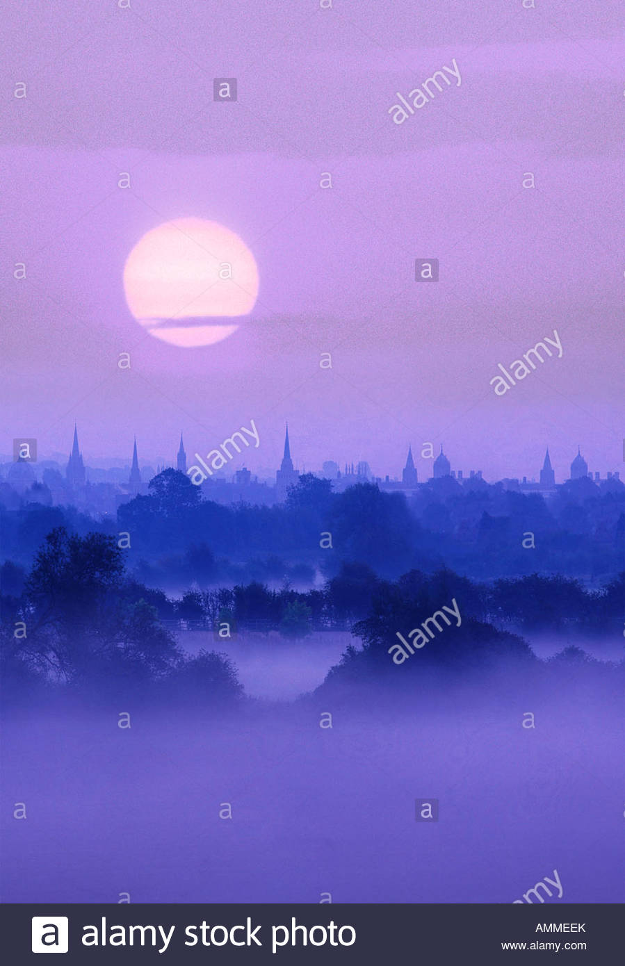 Oxford skyline at dawn Stock Photo