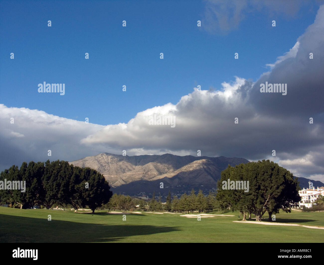Green and Bunker on Mountain Golf Course Mijas Costa del Sol Spain - Stock Image