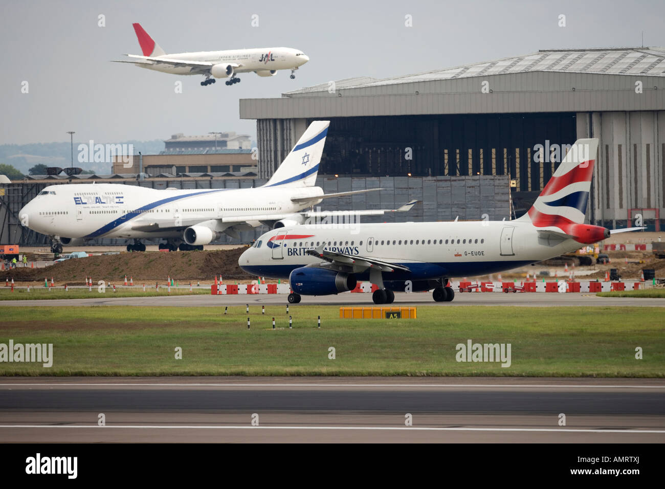 BA British Airways airbus a320 landing at London Heathrow airport LHR Stock Photo