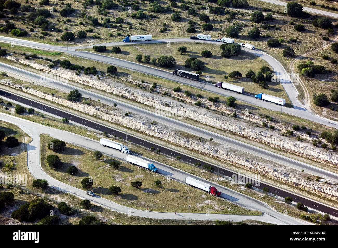 aerial view above truck stop on interstate 10 I-10 Texas - Stock Image