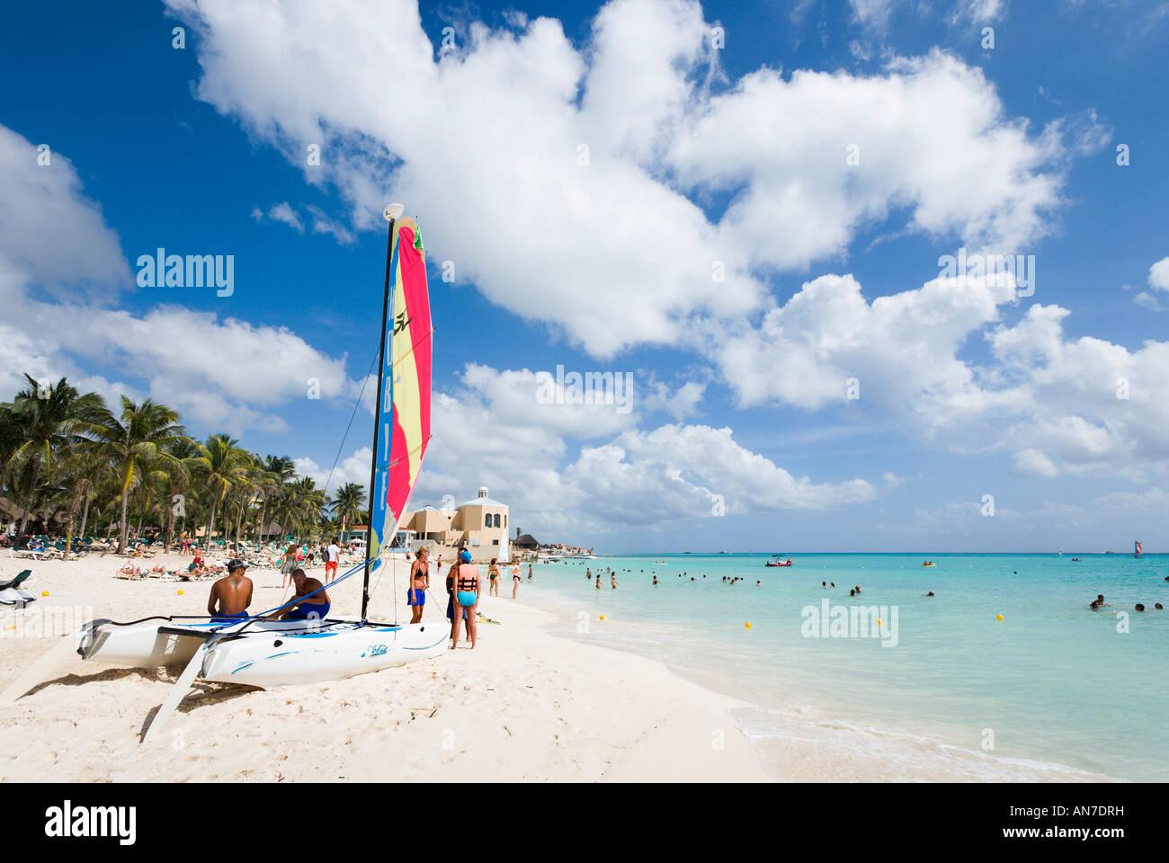 Beach outside Riu Playacar Hotel, Playacar, Playa del Carmen, Riviera Maya, Yucatan Peninsula, Quintana Roo, Mexico - Stock Image