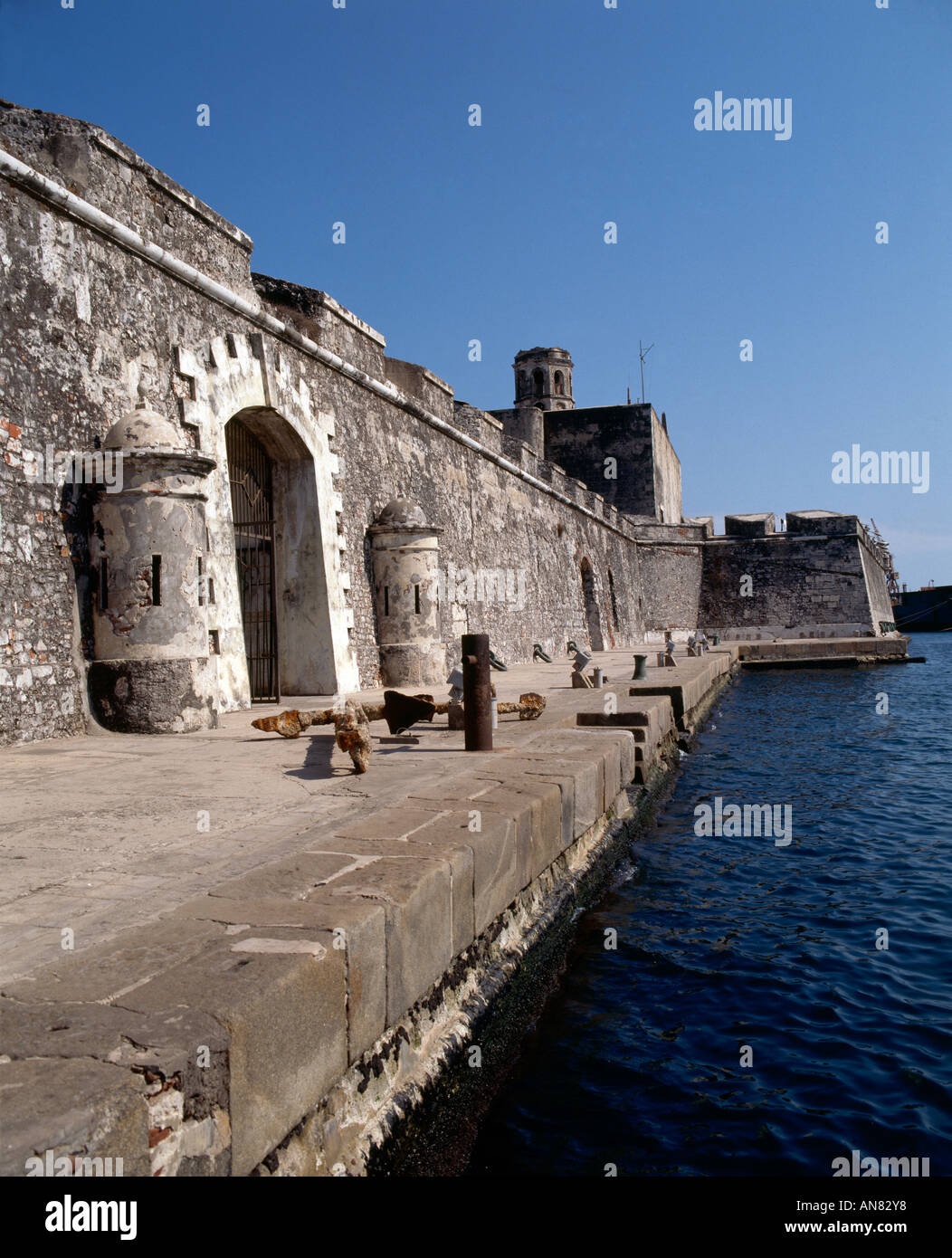 Looking along the fortified walls of the fortress of San Juan de Ulua Veracruz rebuilt and strengthened in 1746 Stock Photo