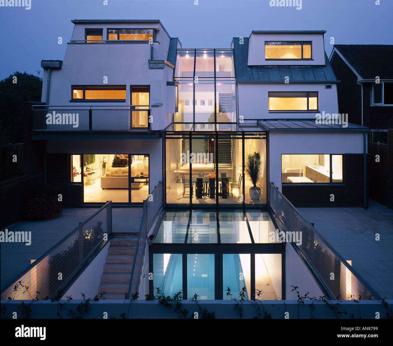 basement pool house. Modern House With Basement Pool, Hampstead - Exterior View Rear Facade Swimming Pool At Night E