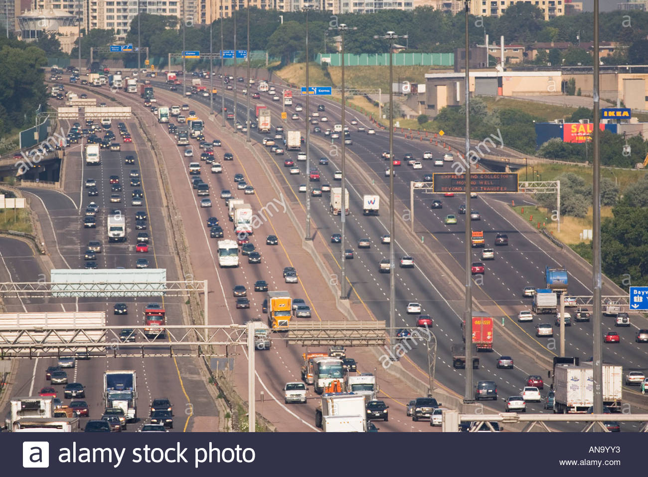 14 lanes of traffic on highway 401 in Toronto Ontario Canada Stock Photo