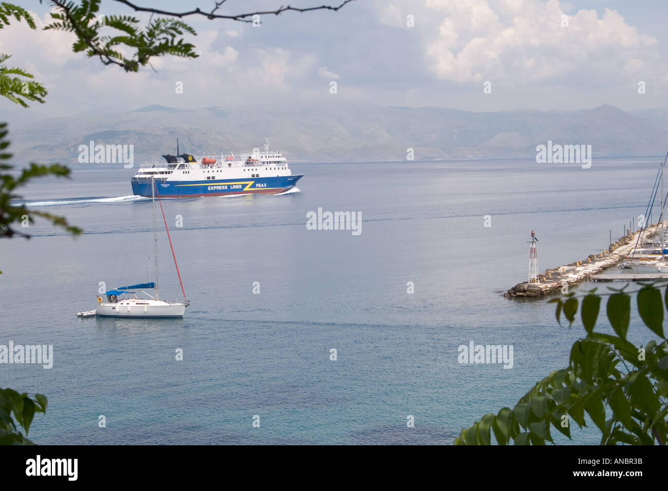 Boats in the Ionian Sea, Kerkyra, Corfu, Greece, express lines feax ferry boat yacht sailing sail moored mooring - Stock Image