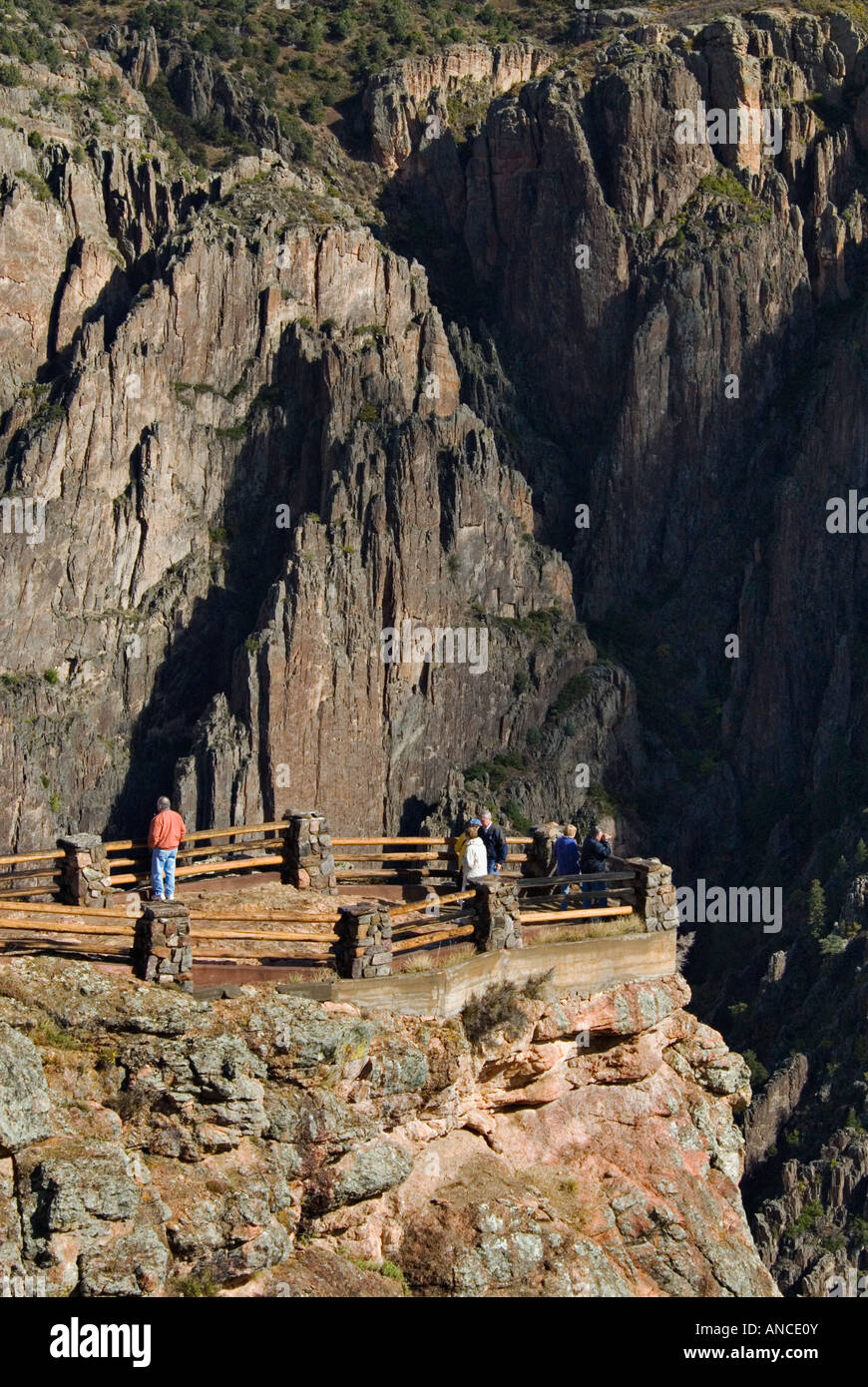 Tourists at Scenic Overlook at Visitor Center Black Canyon of the Gunnison National Park Near Montrose Colorado Stock Photo