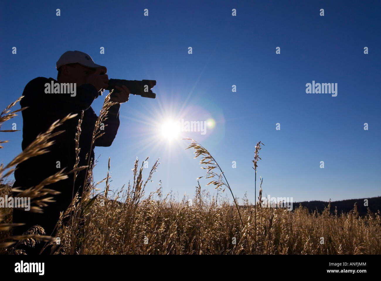 Silhouette of photographer, British Columbia, Canada. - Stock Image