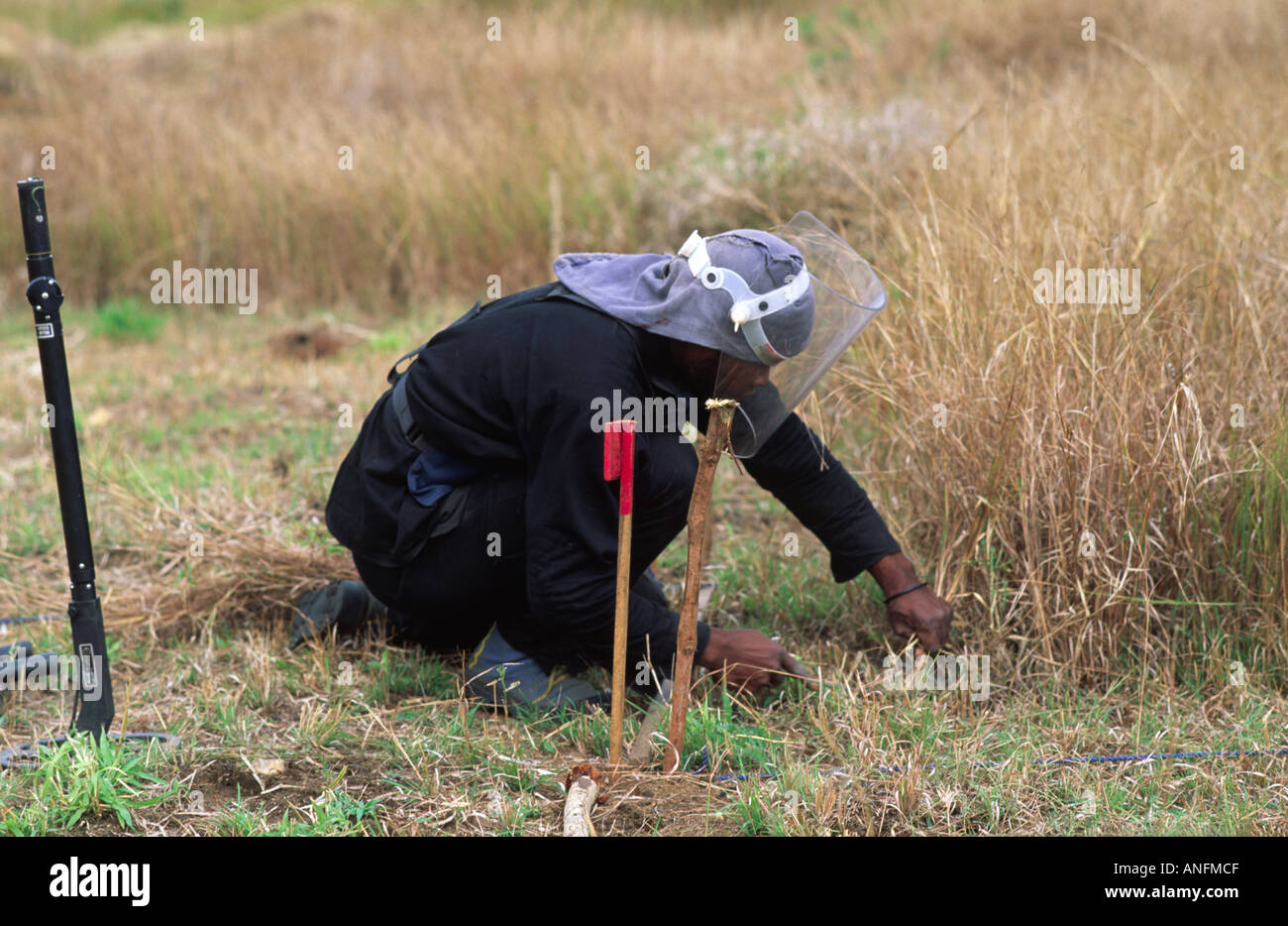 Searching for land mines. Mozambique - Stock Image