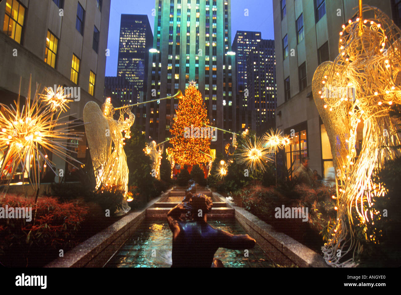 New York City Rockefeller Center Christmas Holiday Decorations Stock ...