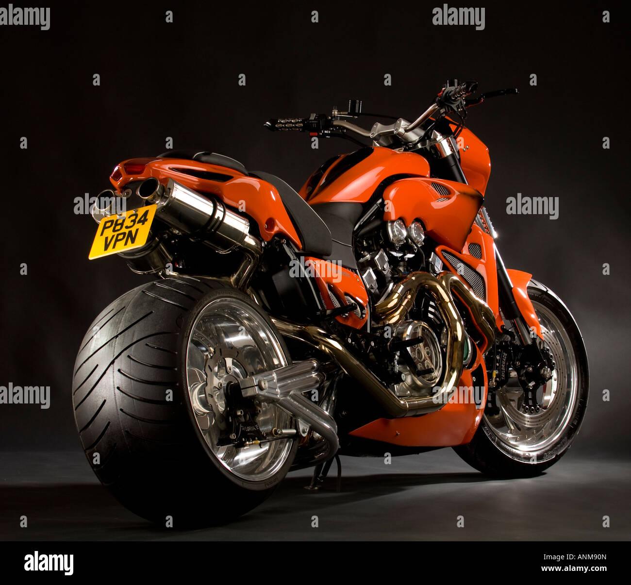 Bright Orange Yamaha V Max Vmax Bike Custom Cruiser Chopper Motorcycle With Huge Fat Rear Tyre Conversion