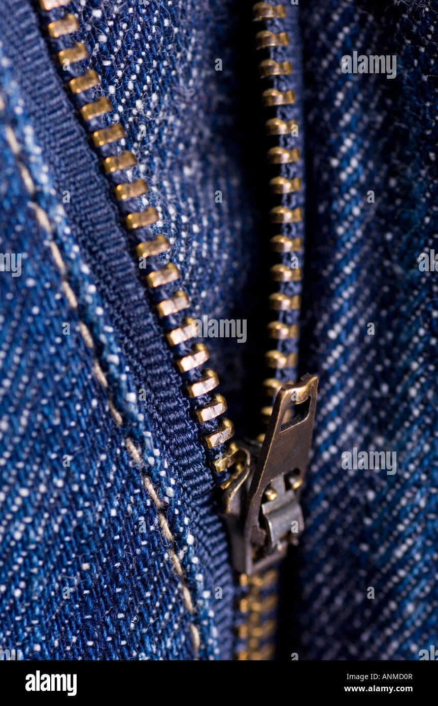 unzipped denim jeans zipper - Stock Image