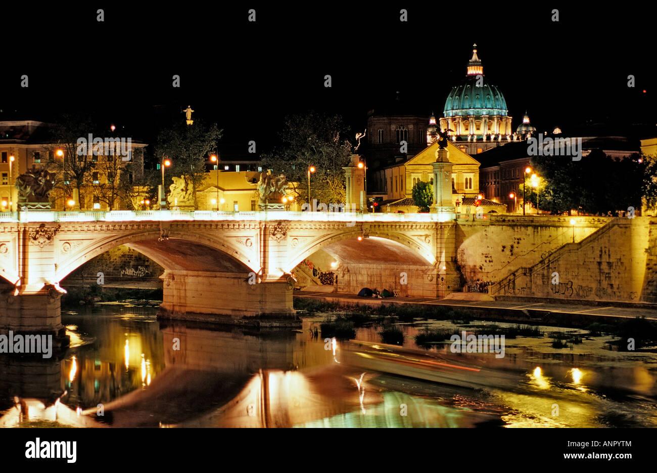 Ponte Vittorio Emmanuel II Tiber bridge San Pietro Cathedral Italy Rome Vatican City - Stock Image