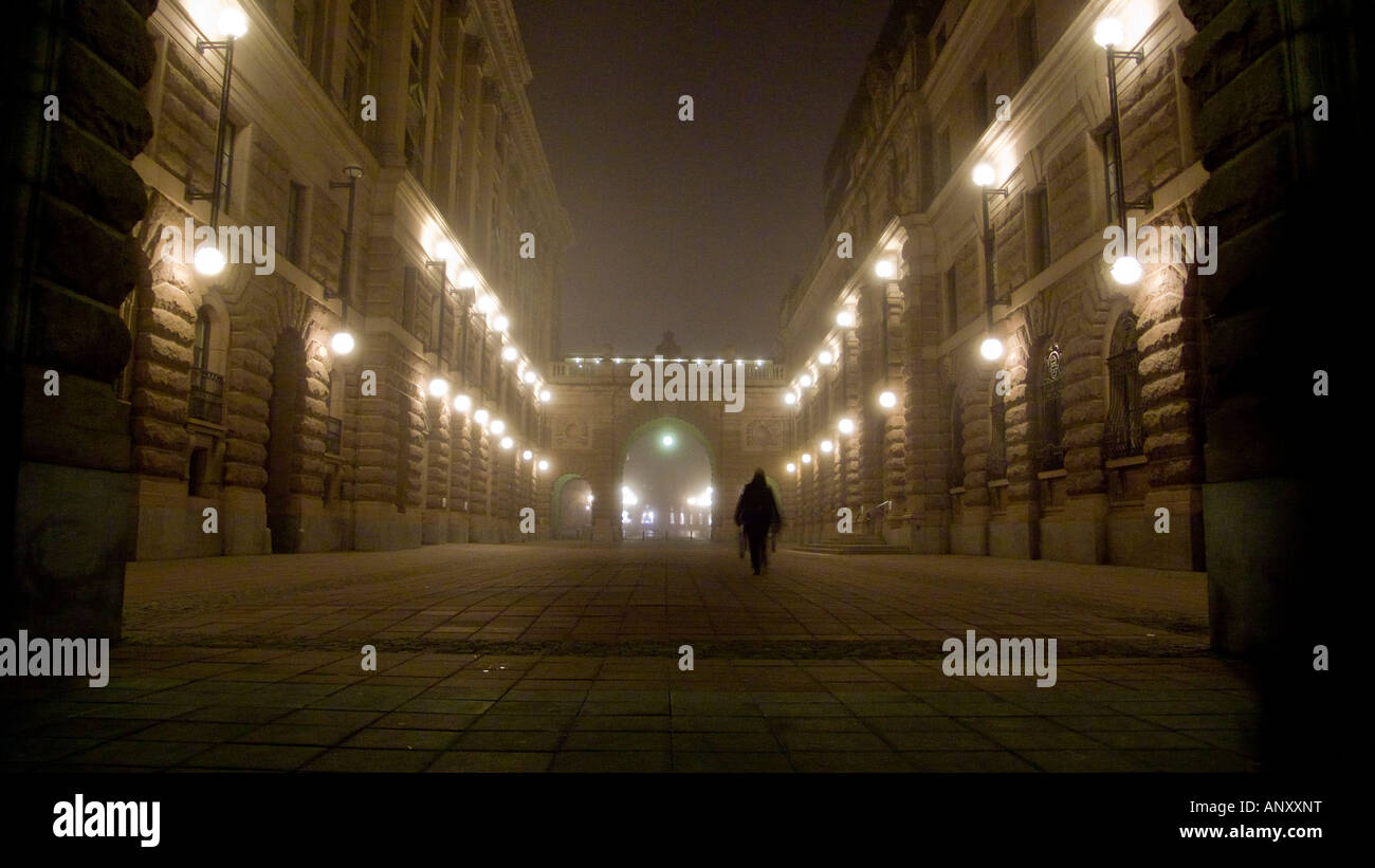 A foggy night on Riksgatan in Stockholm outside the Swedish parlament buildings Stock Photo
