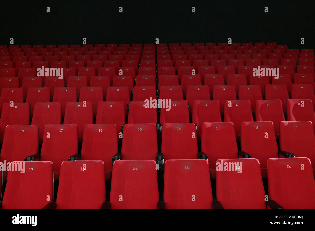 Rows of empty red cinema seats, Garmisch-Partenkirchen, Bavaria, Germany - Stock Image