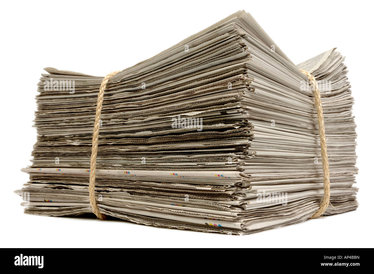 Stack of old newspapers - Stock Image