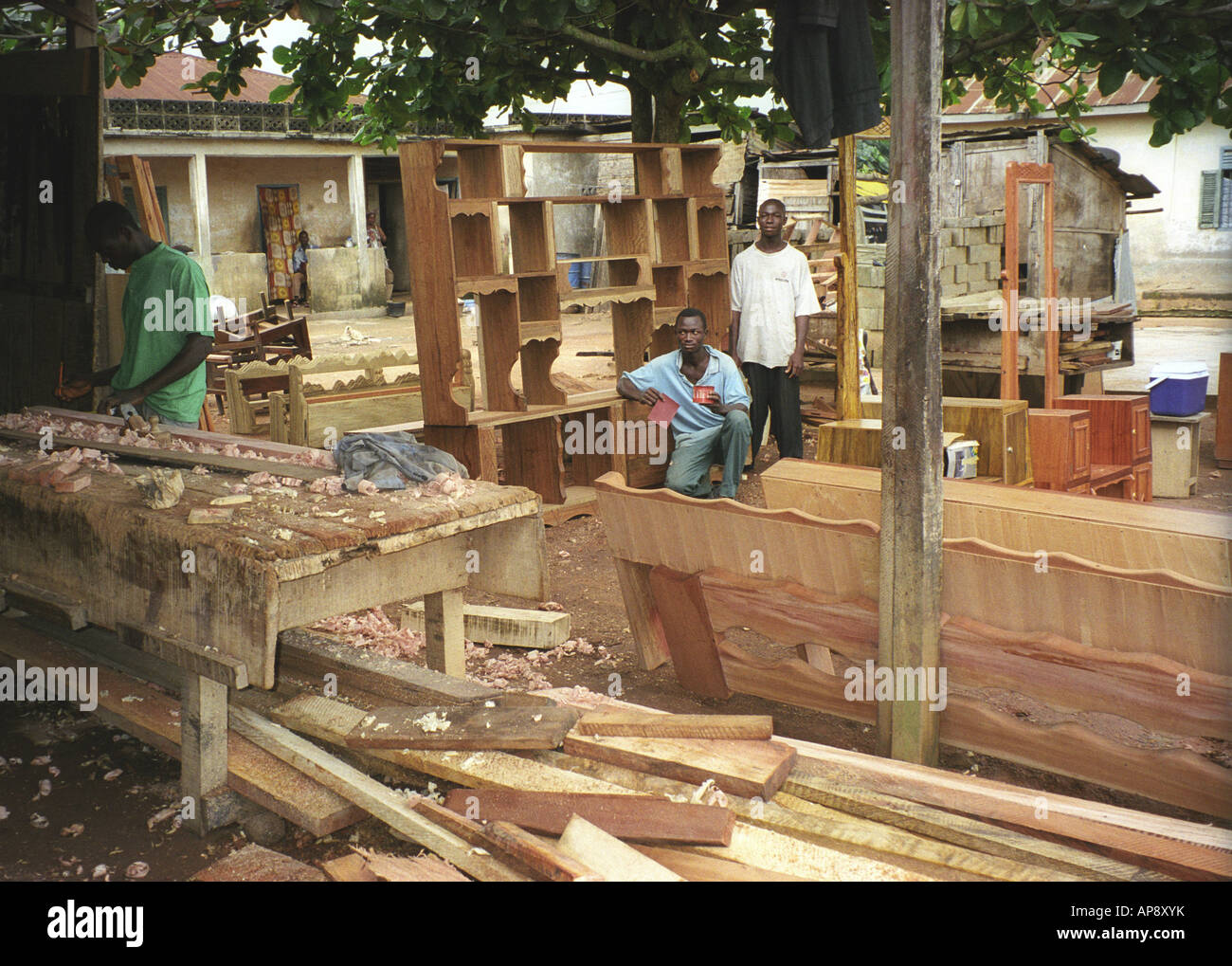 outdoor furniture factory and wood store with carpenters at work in rh alamy com outdoor furniture factory rutherford outdoor furniture factory direct
