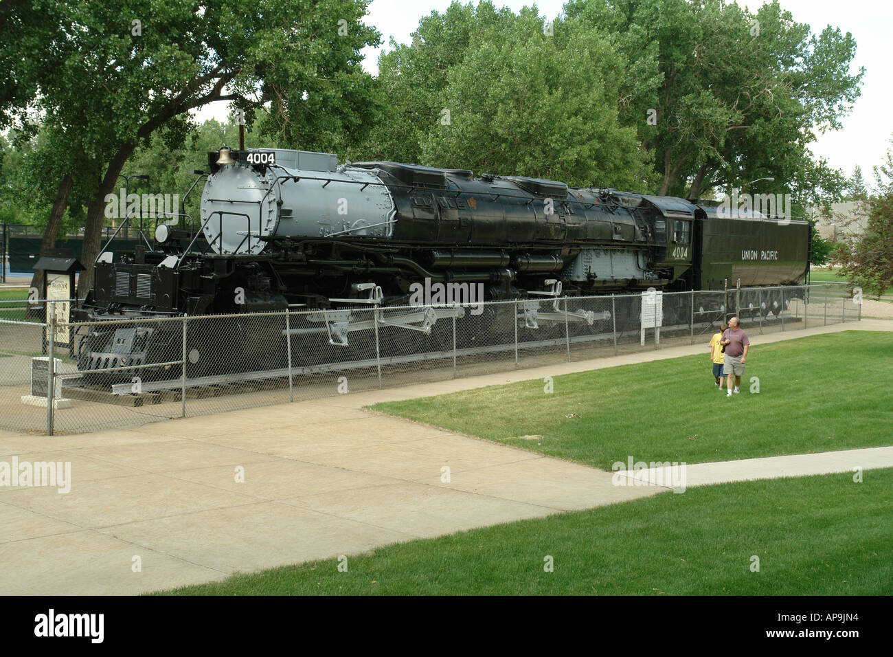 AJD50309, Cheyenne, WY, Wyoming, Holliday Park, Big Boy steam engine, locomotive Stock Photo