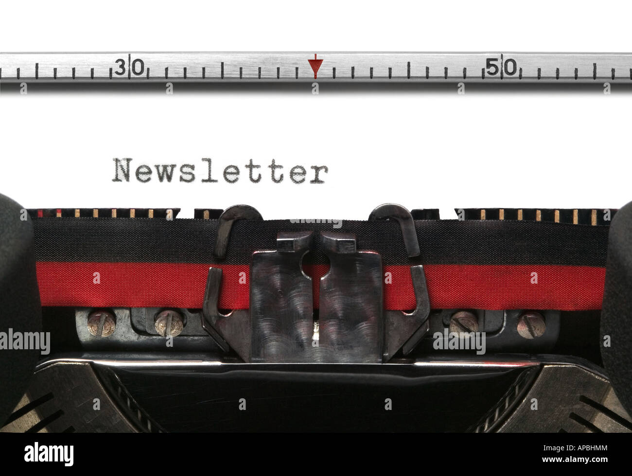 Newsletter on an old typewriter genuine font - Stock Image