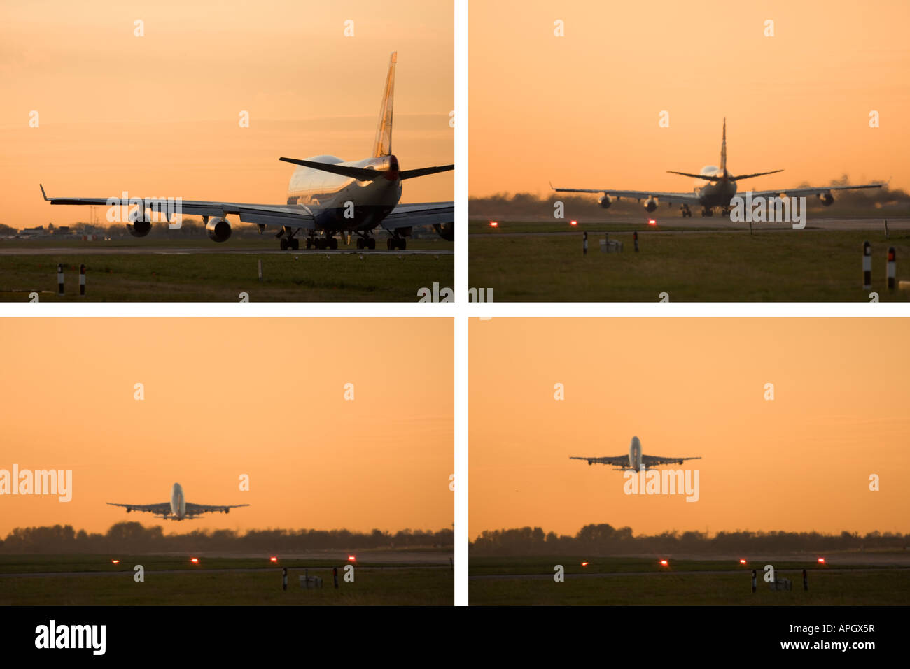 4 image collage showing progess of British Airways Boeing 747 taking off at London Heathrow Airport UK - Stock Image