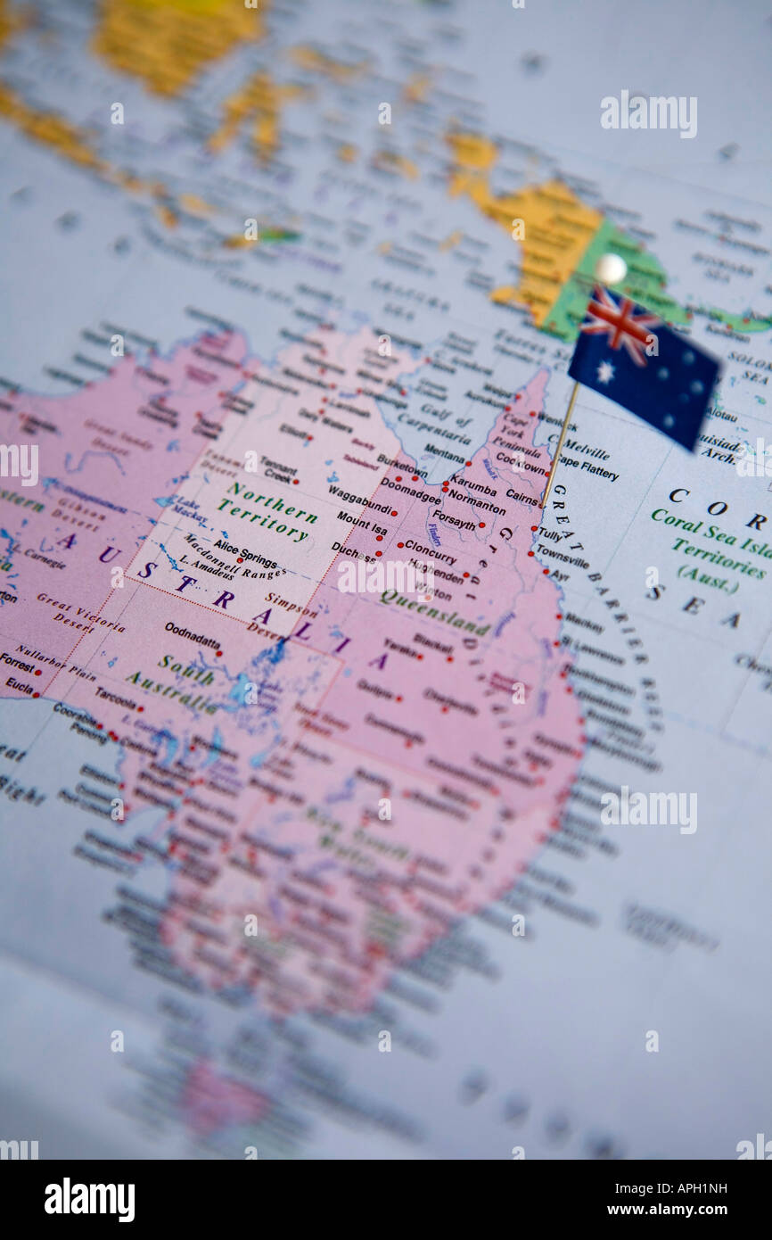 Flag pin placed on world map in cairns australia stock photo flag pin placed on world map in cairns australia gumiabroncs Gallery