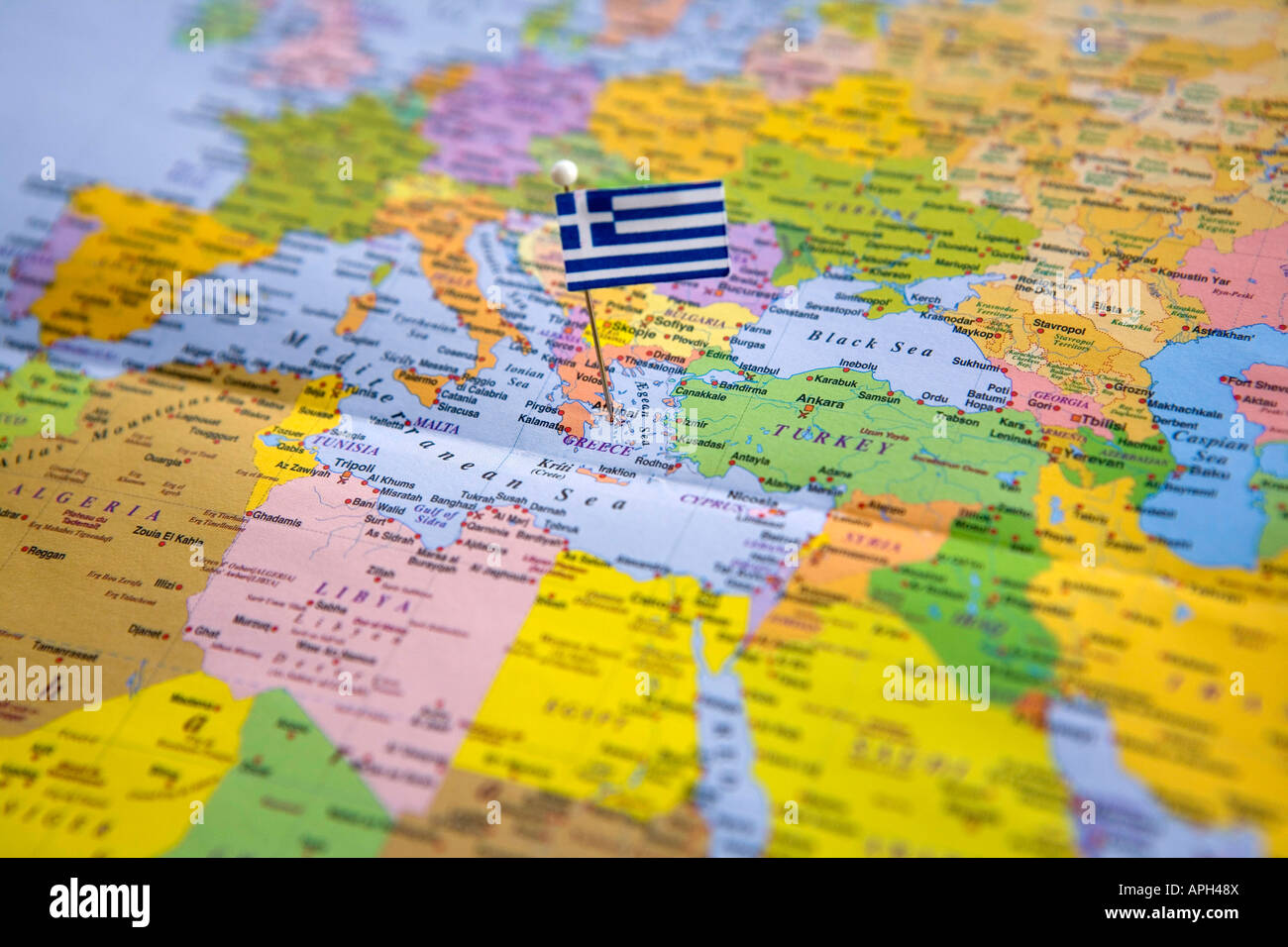 Flag pin placed on world map in the capital of greece athens stock flag pin placed on world map in the capital of greece athens gumiabroncs Choice Image