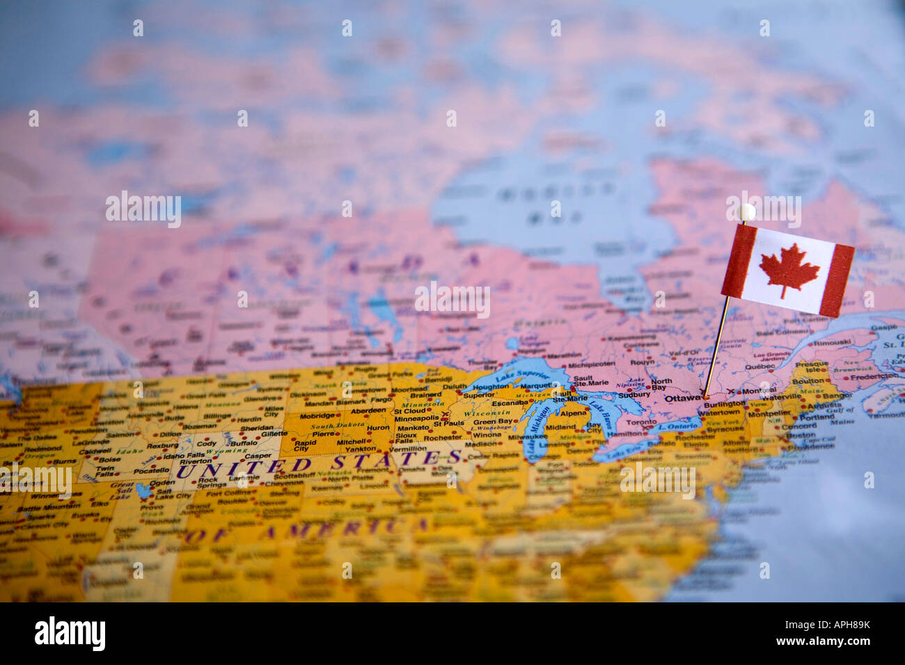 Flag pin placed on world map in the capital of canada ottawa stock flag pin placed on world map in the capital of canada ottawa gumiabroncs Choice Image