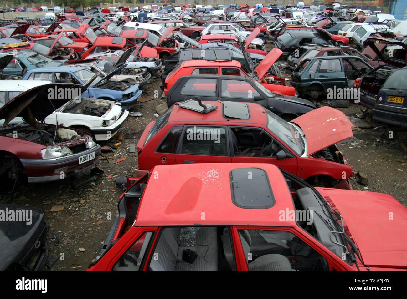 view of scrap cars in UK scrap yard Stock Photo: 5159856 - Alamy