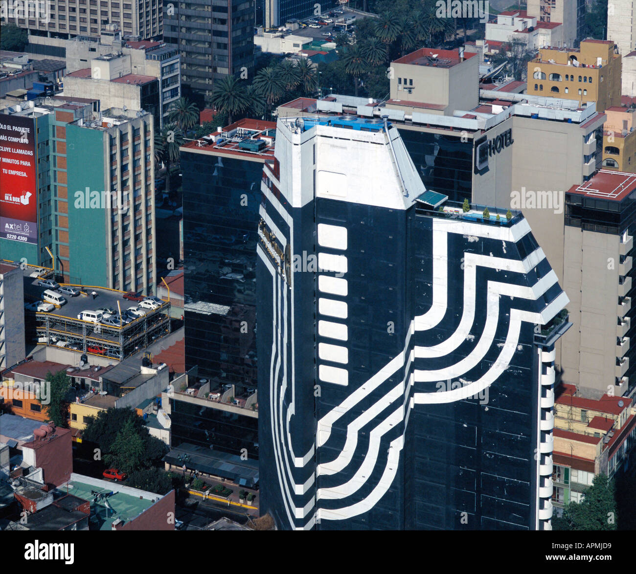 aerial above Mexico City architecture - Stock Image