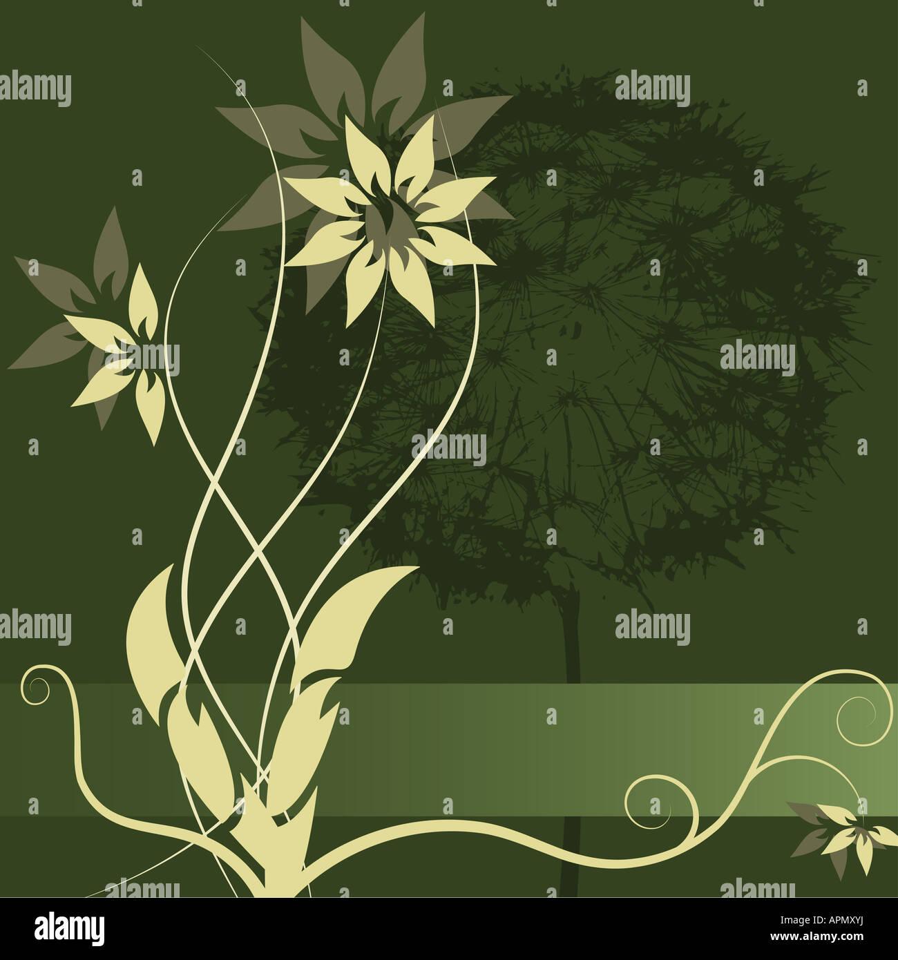 Graphic vector flower label design - Stock Image