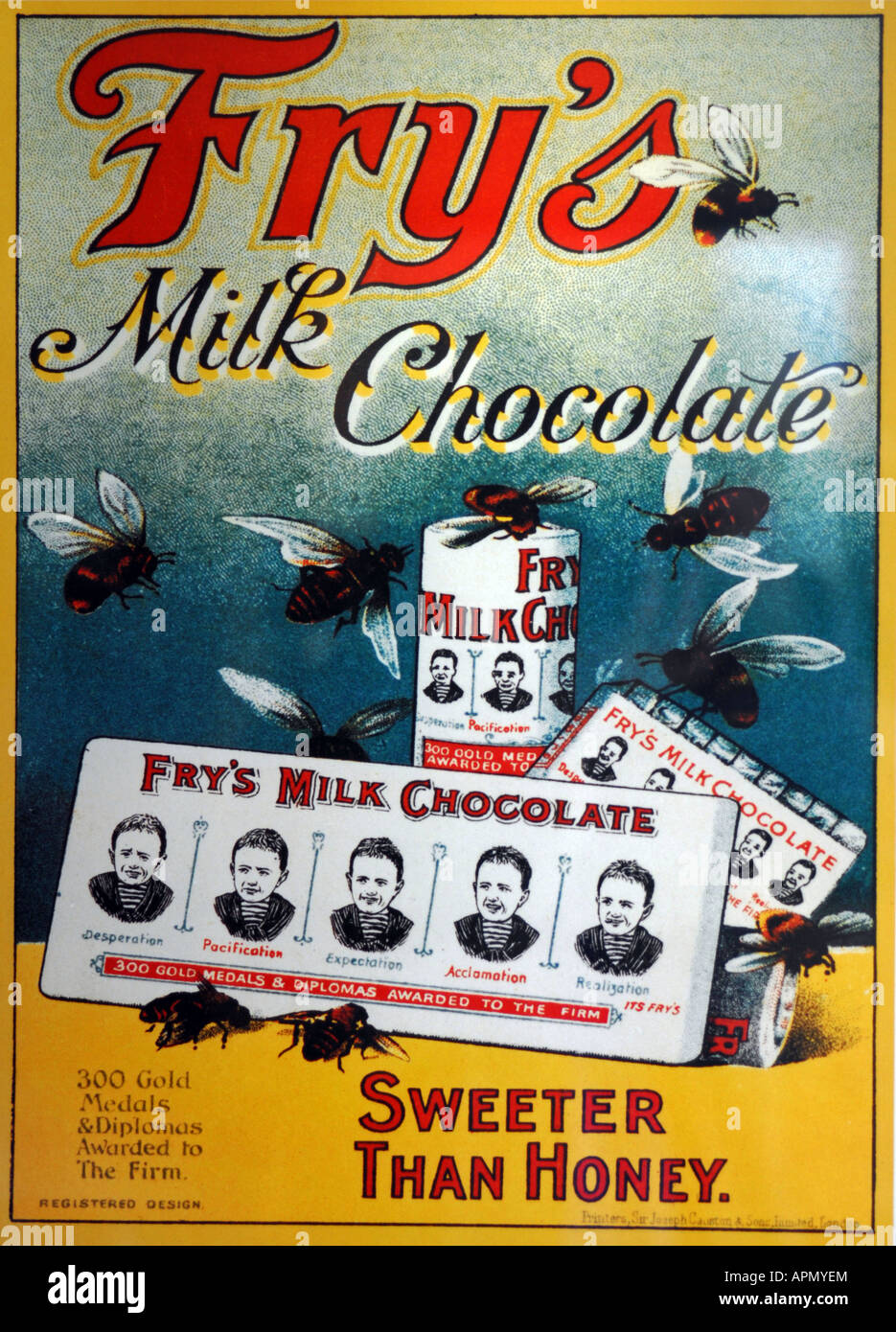 Old fashioned Fry's Milk Chocolate advert poster - Stock Image