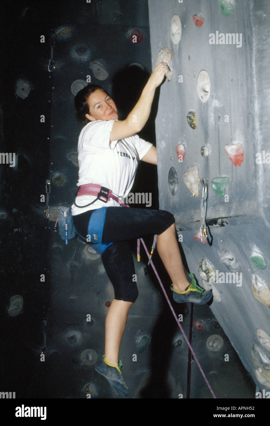 INDOOR CLIMBING ACTION - Stock Image