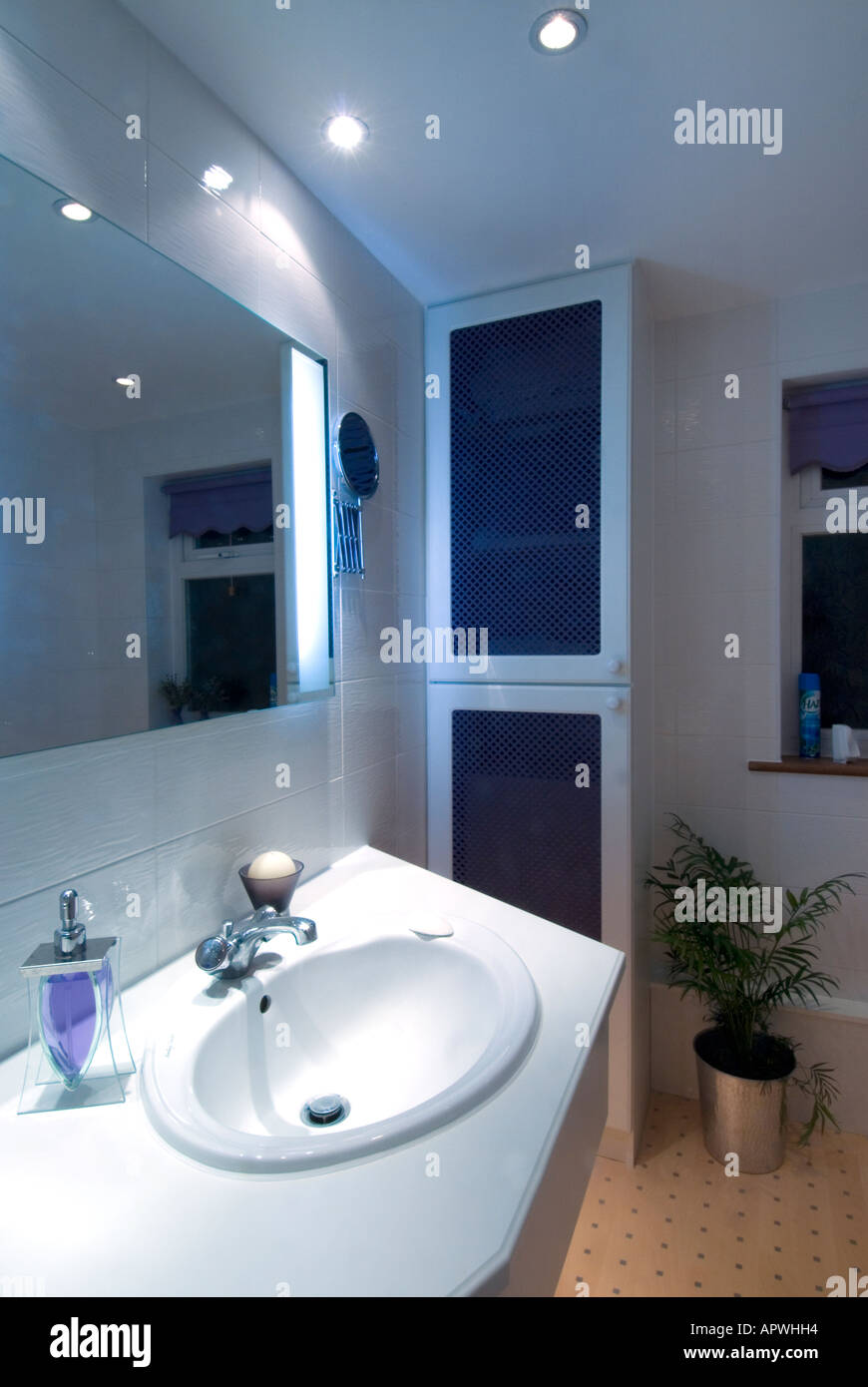 Domestic House Bathroom Vanity Unit And Hand Basin Includes Cupboard  Housing Boiler And Linen Store After Make Over