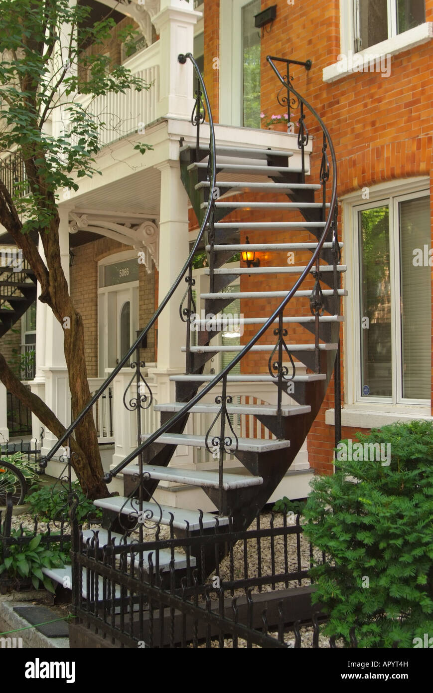 CANADA Quebec Montreal exterior staircase to the second floor made of wrought iron Stock Photo