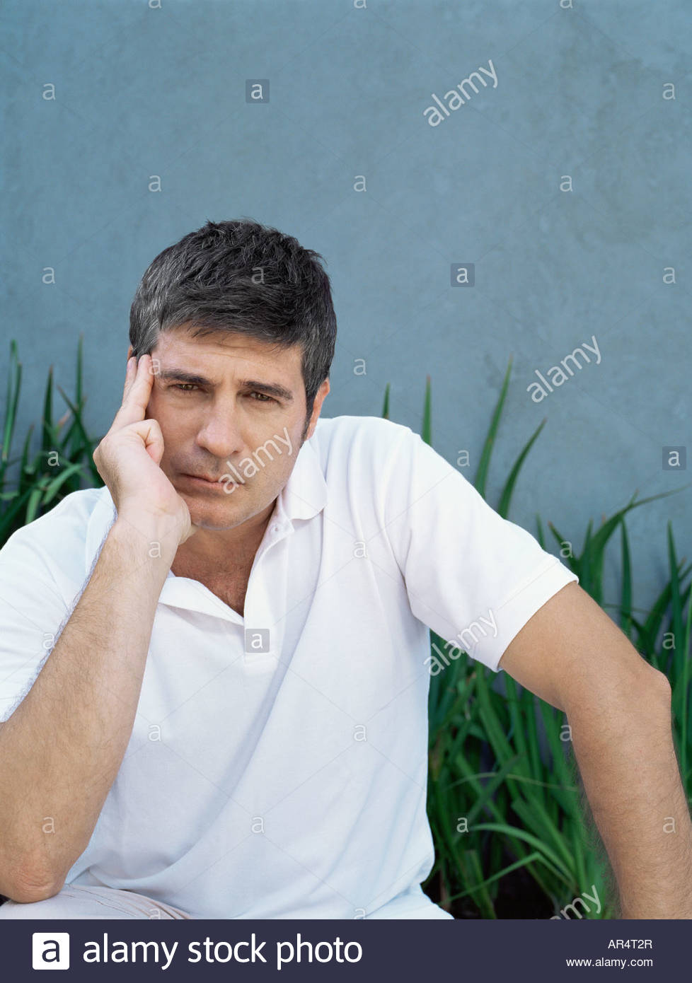 Man looking worried - Stock Image