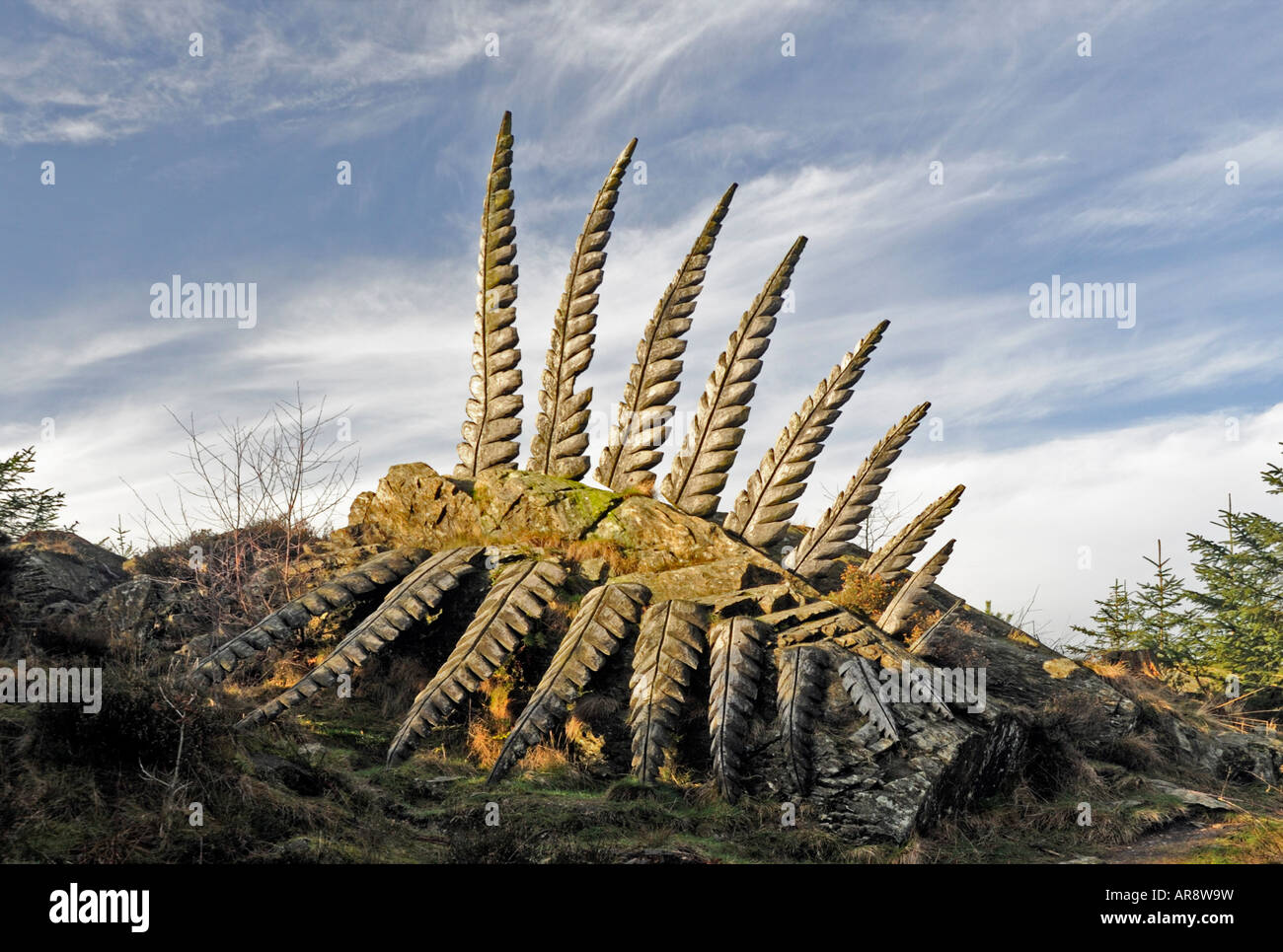 """Some Fern"". Outdooor sculpture by Kerry Morrison, 1997. Grizedale Forest Park, Cumbria, England, United Kingdom,Stock Photo"
