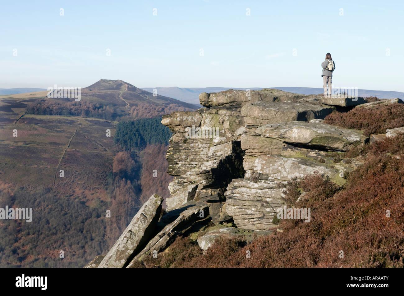 Female walker on Bamford edge in Derbyshire' Great Britain' - Stock Image