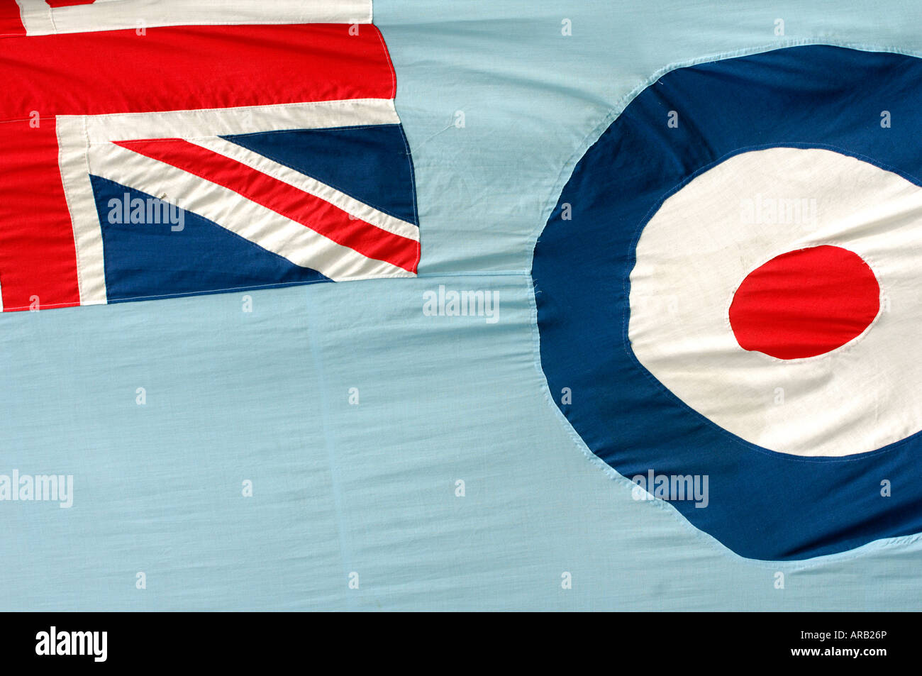 the flage of the royal air force showing union jack and roudel in