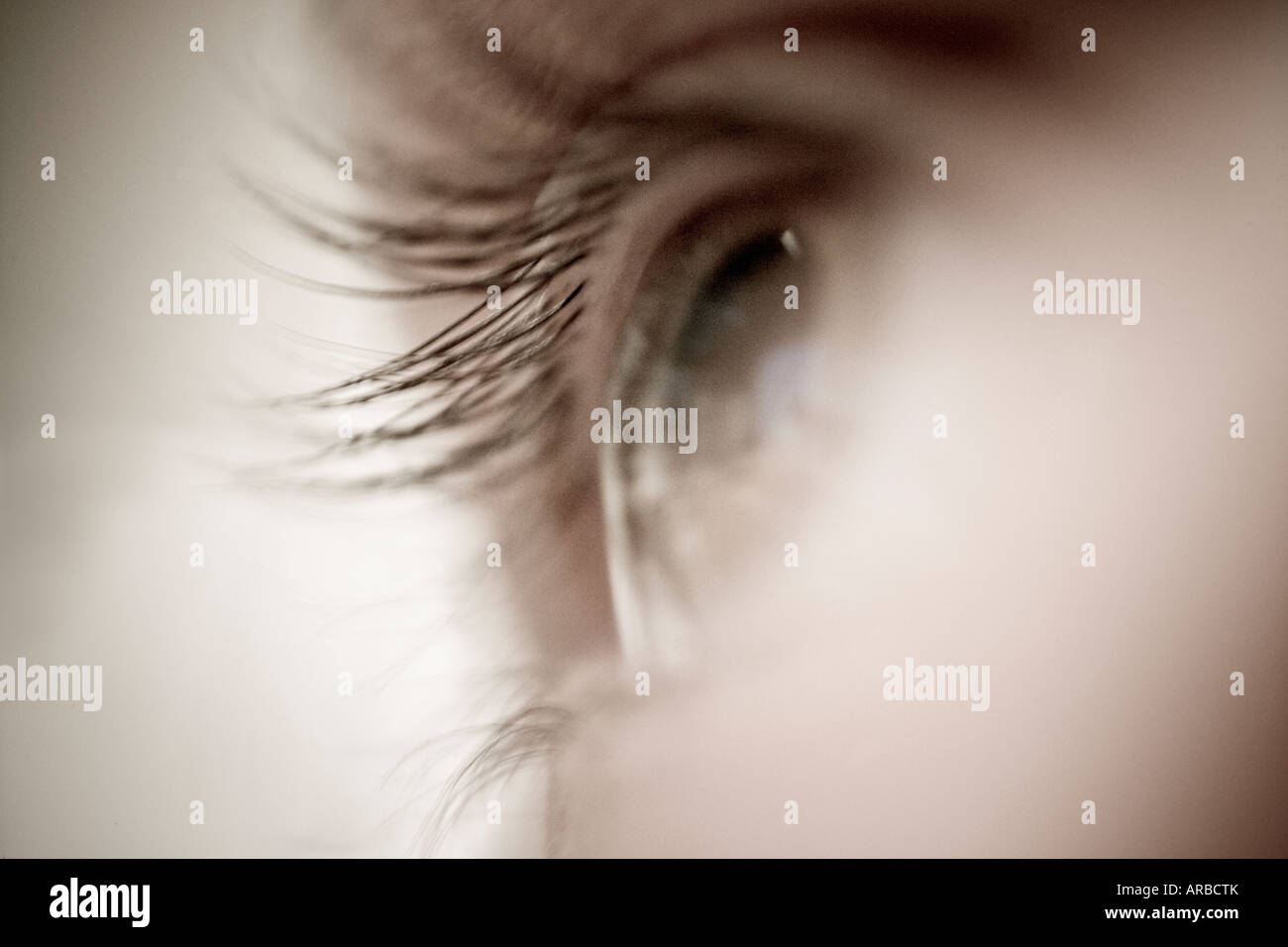 Close up of eye and eyelashes looking off in distance soft and fuzzy monochromatic - Stock Image