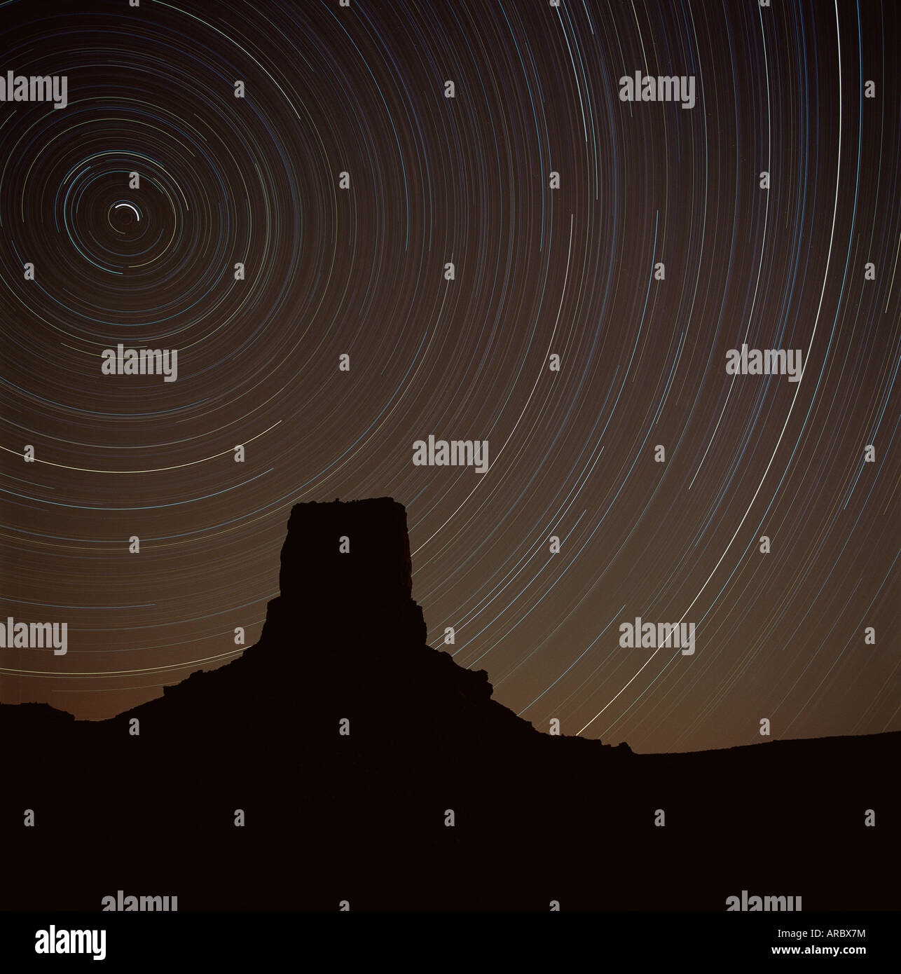 Star trek over Monument Valley, Monument Valley, an area in Utah and Arizona, USA (U.S.A.) - Stock Image