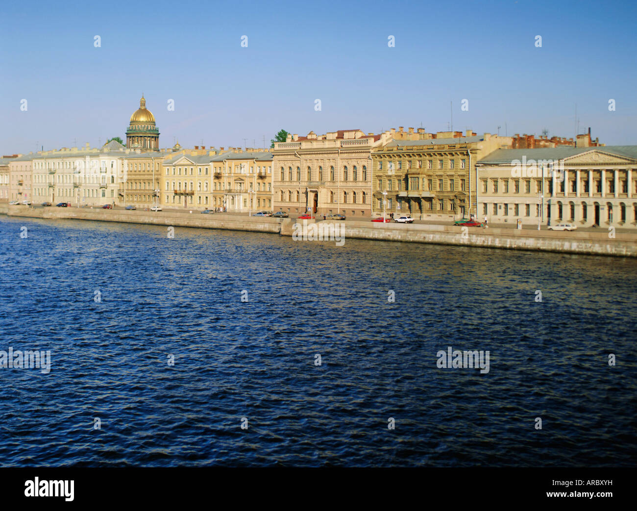 Neva River, English Quay and skyline, St. Petersburg, Russia, Europe - Stock Image