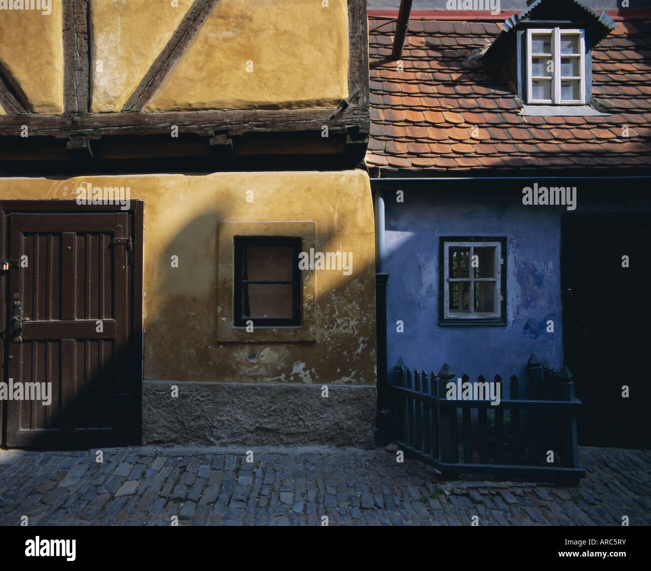 Colourful old buildings in Golden Lane, Prague, Czech Republic, Europe - Stock Image