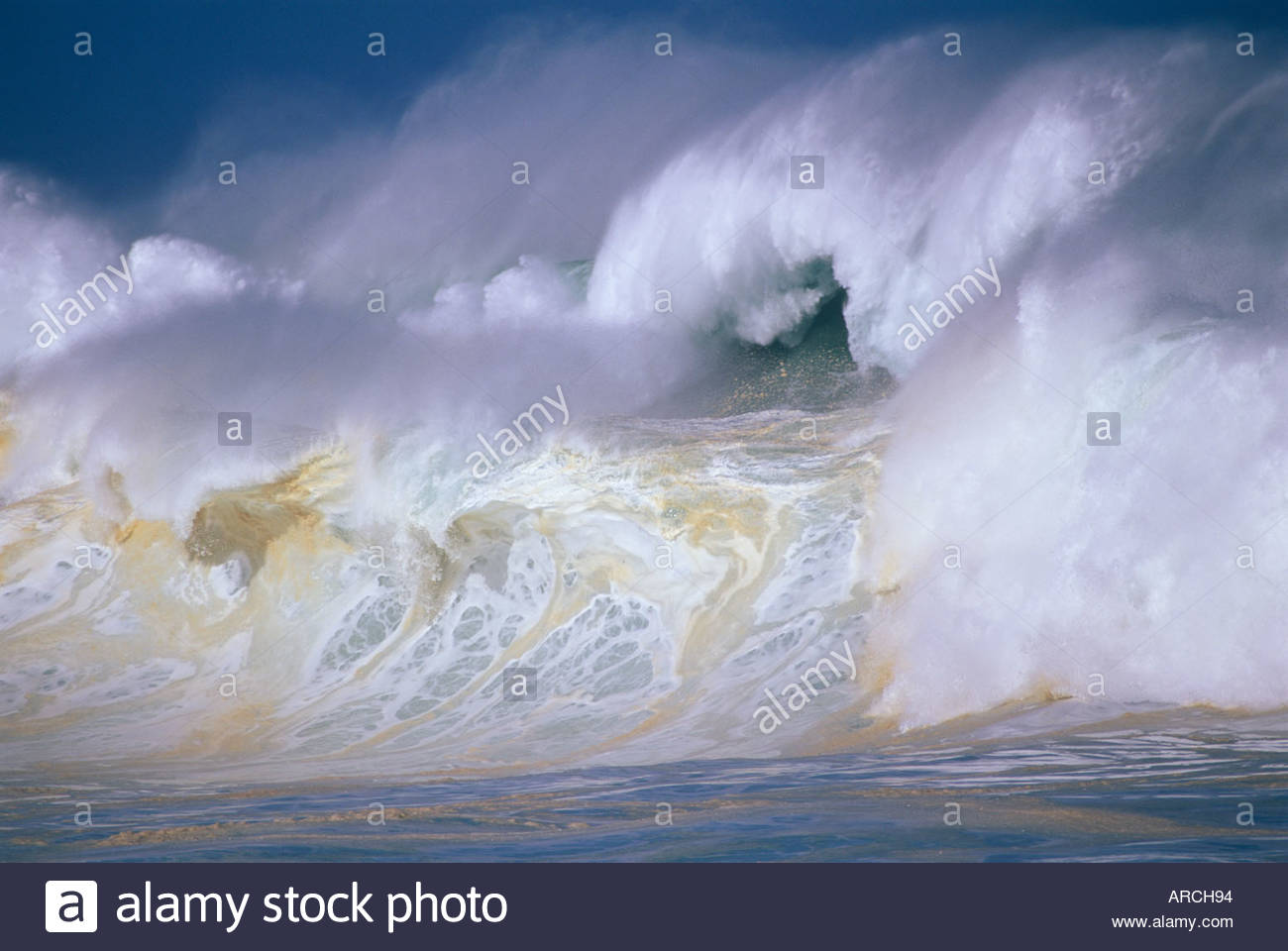 Record high 35 foot surf due to El Nino on north shore of island of Oahu in the state of Hawaii USAStock Photo